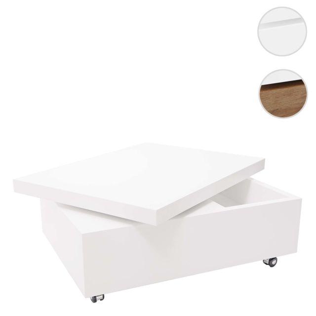 Mendler Table basse de salon Hwc-g82, 34x80x60cm, pivotante ~ couleur blanche terne