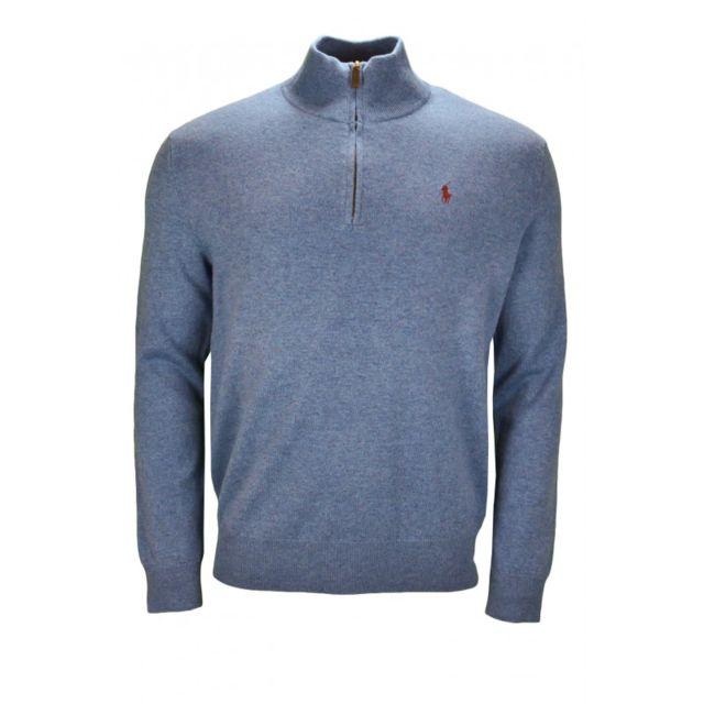 Ralph Lauren - Pull demi-zippé en laine bleu pour homme - pas cher Achat   Vente  Pull homme - RueDuCommerce 2078516e9446
