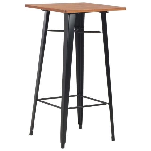 sublime Tables ensemble Kampala Table de bar Noir 60x60x108 cm Pinède et acier
