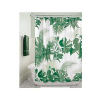 Interdesign - Rideau de douche 100% polyester motif feuilles tropicales 183x183cm Fern
