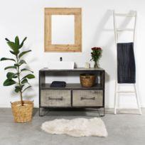 Made In Meubles - Meuble salle de bain industriel gris 2 tiroirs - grand modèle | If664-B