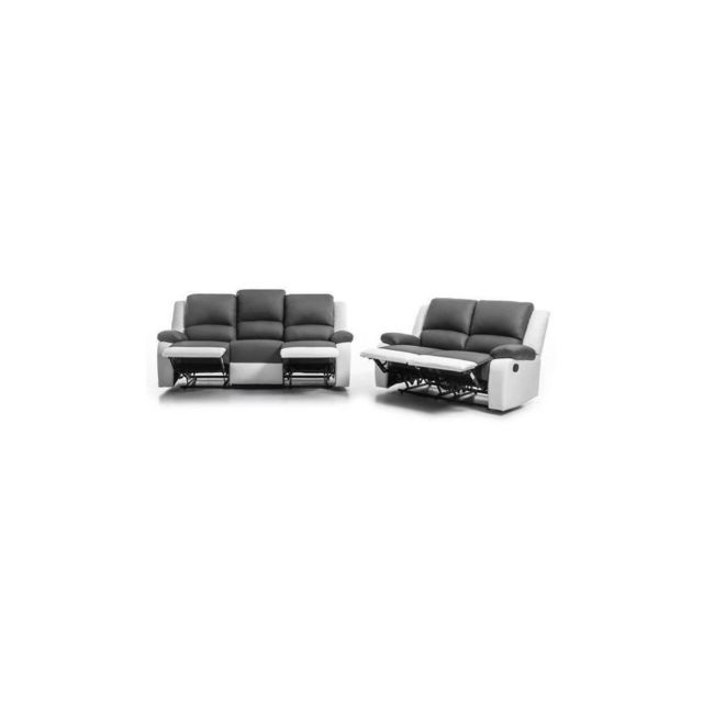 Sans Marque Relax Ensemble Canapes De Relaxation Droit 3 + 2 Places - Simili Gris Et Blanc - Contemporain - L 190 Et 144 X P 93 Cm