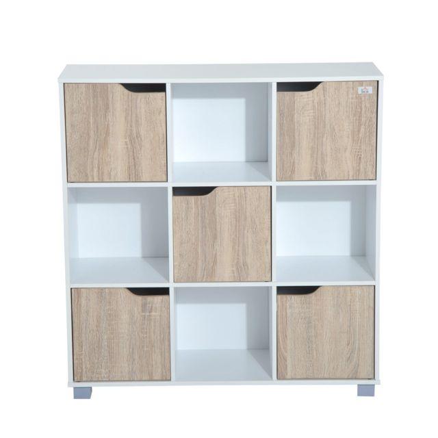 HOMCOM - Bibliothèque meuble de rangement bicolore 4 casiers ouverts ... bcb0d66c3d81