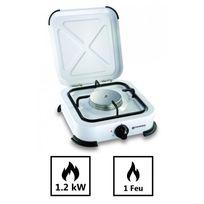 Kemper - Plaque de cuisson gaz portable 1 feu - 1200 w - blanc laqué