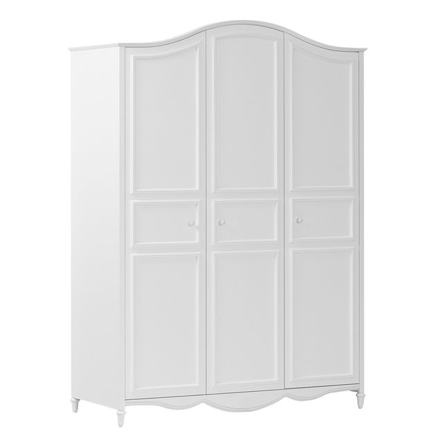 Comforium Armoire romantique à 3 portes coloris blanc