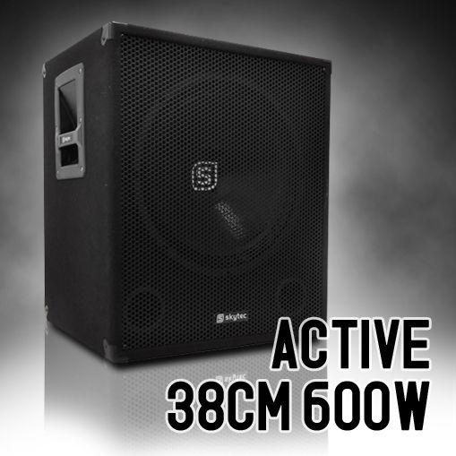 SKYTEC caisson de basses actif DJ PA subwoofer 15