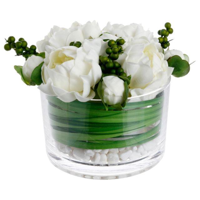 Atmosphera, Createur D'INTERIE Atmosphera - Composition de pivoines en vase verre H15
