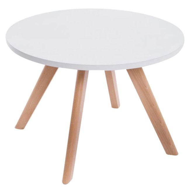 Decoshop26 Table Basse Table D Appoint Ronde 4 Pieds En Bois Clair