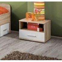 Asm-mdlt - Table de chevet 45x38x40 cm en chêne sonoma et fronts blancs mats