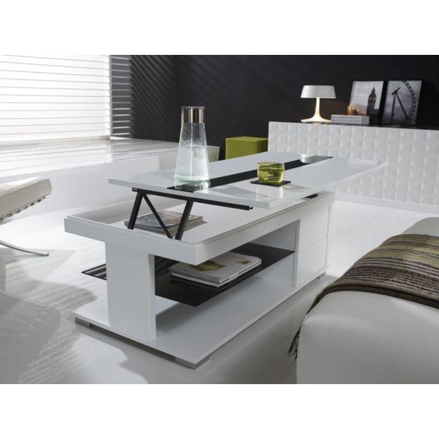Sofamobili Table basse relevable blanc laqué design Elsye
