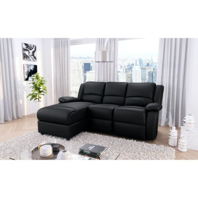 MARQUE GENERIQUE CANAPE - SOFA - DIVAN RELAX Canapé de relaxation d'angle gauche 3 places - Simili noir - Contemporain - L 192 x P 147 cm
