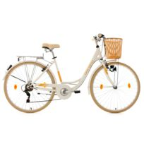KS CYCLING - Vélo pour dame 28'' Cantaloupe blanc avec panier TC 48 cm Dacapo