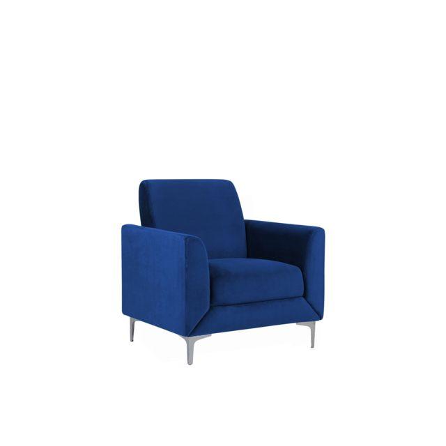 BELIANI Fauteuil en velours bleu marine FENES - bleu foncé