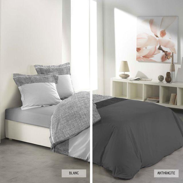 sans marque housse de couette 220 x 240 cm taies carmina deux coloris blanc pas cher. Black Bedroom Furniture Sets. Home Design Ideas