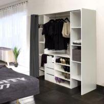 GÉNÉRIQUE   Dressing   Kit Amenagement De Placard Dress Kit Dressing  Extensible + Rideau Contemporain Blanc