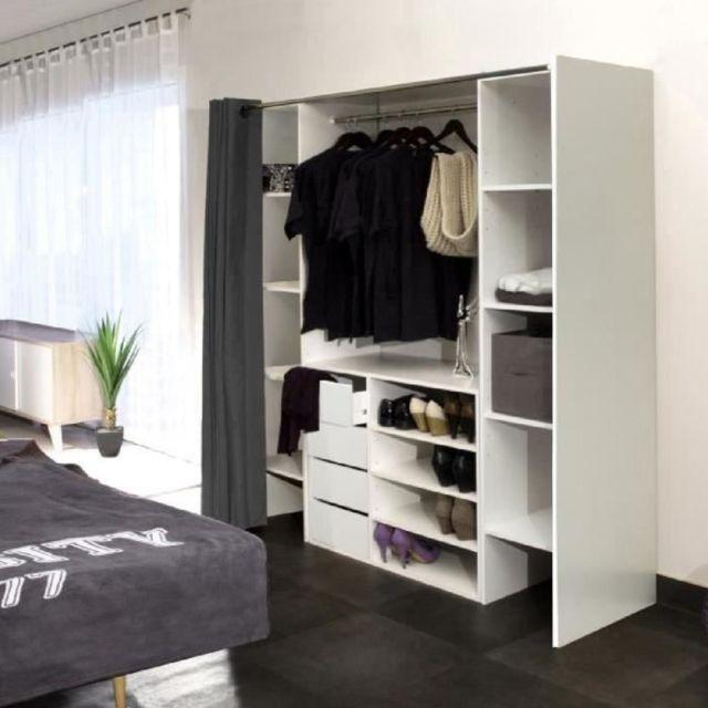 Dressing - Kit Amenagement De Placard Dress Kit dressing extensible +  rideau contemporain blanc et anthracite - L 112-185 cm