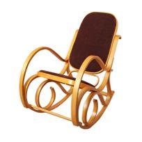 Mendler - Rocking-chair fauteuil à bascule M41, imitation chêne, tissu marron