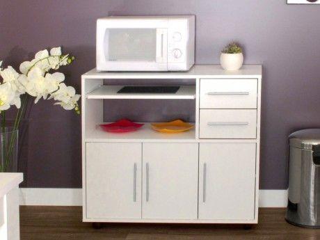 vente unique desserte micro ondes sur roulettes bertille coloris blanc pas cher achat. Black Bedroom Furniture Sets. Home Design Ideas