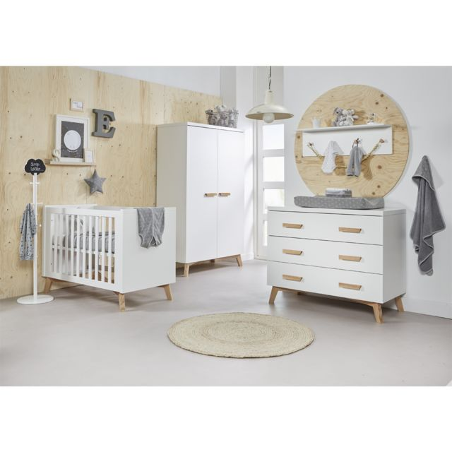 Chambre complète lit bébé 60x120 - commode à langer - armoire 2 portes Mika  - Blanc