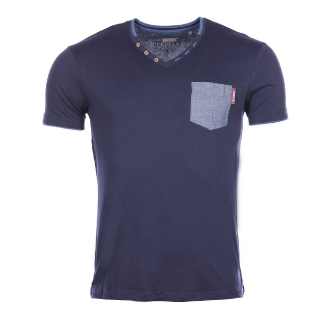 133510570e86c Kaporal 5 - Kaporal Homme - T-shirt Nego navy col V hiver 2017 - pas ...