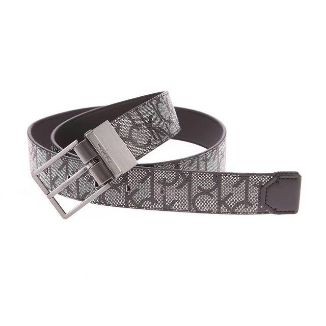 Calvin Klein - Ceinture ajustable grise monogrammée noire réversible noire  - pas cher Achat   Vente Ceinture homme - RueDuCommerce 4d90ec71a2b
