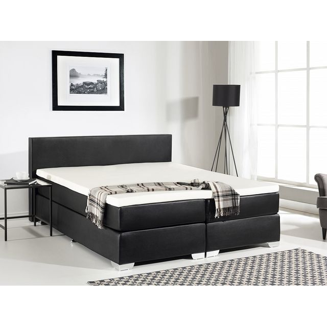 beliani lit boxspring en similicuir sommier et matelas ressorts noir 160x200 cm. Black Bedroom Furniture Sets. Home Design Ideas