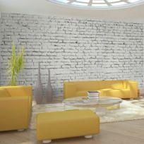 Bimago - Makossa-a1-F5TNT0025-P - Papier peint Xxl - Mur blanc - esprit briques à l'état pur 550x270