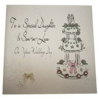 White Cotton Cards - Code Xlbd2 To A Special Daughter And Son-in-law On Your Wedding Day Carte De Voeux De Mariage Fait Main