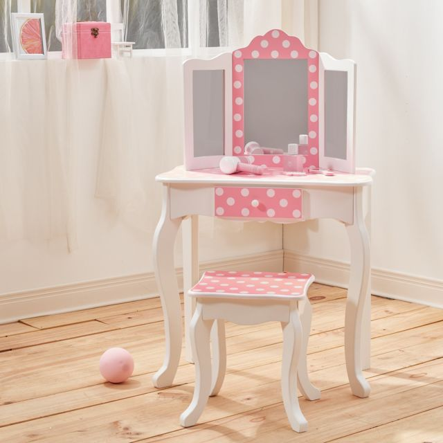 c16fe1f795bc6 TEAMSON KIDS - Coiffeuse enfant Teamson bois table maquillage miroir  tabouret fille TD-11670F