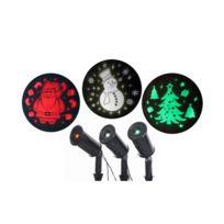 No Name - Lot de 3 projecteurs Led Noël fixe – Sapin vert, Père-Noël rouge et Bonhomme de neige blanc - Extérieur ou intérieur