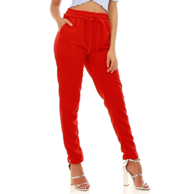 cf0f198fe37f Lamodeuse - Pantalon rouge chino avec cordon à la ceinture XL XXL ...