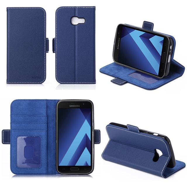 qualité prix de la rue vente chaude en ligne Housse luxe Samsung Galaxy A5 2017 portefeuille bleue avec stand et porte  cartes - Etui coque