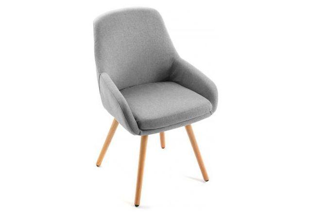 declikdeco chaise style scandinave en tissu gris clair begonia - Chaise Style Scandinave