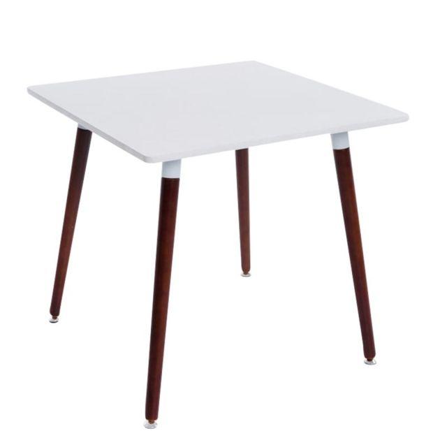 Decoshop26 Table de cuisine table d'appoint carrée 4 pieds en bois foncé 80x80 cm Tab10007