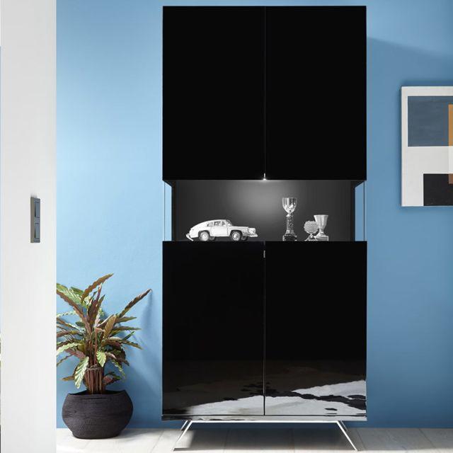 Kasalinea Vaisselier design noir laqué avec Led Palermo 6