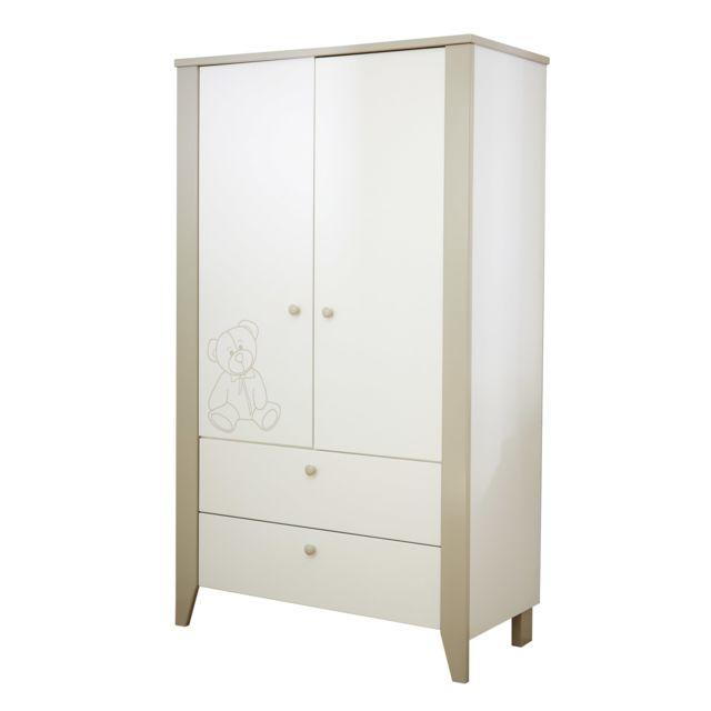 Marque Generique Armoire 2 portes 1 étagère, 1 penderie - coloris blanc
