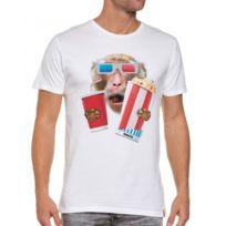 French Kick - T-shirt blanc homme cinema 3d singe