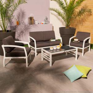 Squareline - Salon de jardin canapé 2 places + 2 fauteuils + table ...