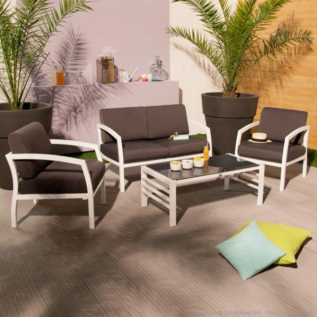 Squareline - Salon de jardin canapé 2 places + 2 fauteuils + ...