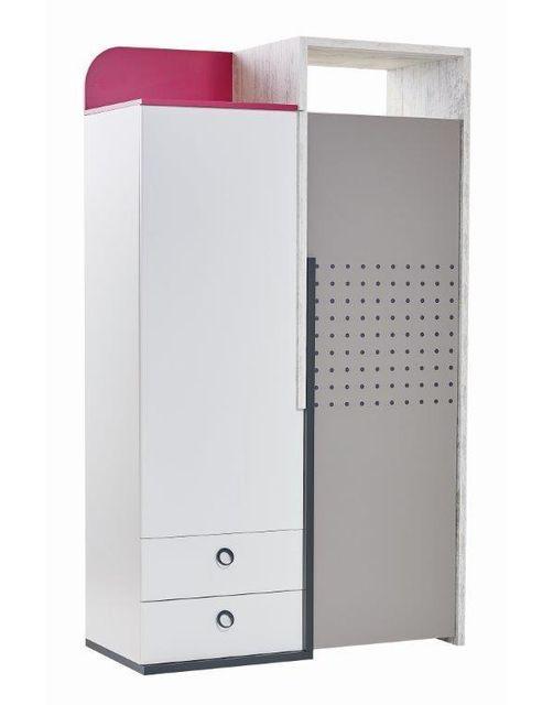 Comforium Armoire 125 cm avec 2 portes et 2 tiroirs coloris blanc et rose