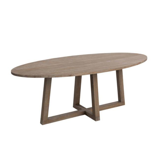 HELLIN TABLE A MANGER OVALE BOIS MOKA 220 CM
