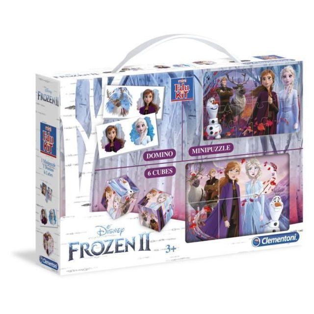 MALLETTE - COFFRET MULTI-JEUX Mini Edukit - La Reine des Neiges 2 - Dominos, Puzzle et 6 Cubes