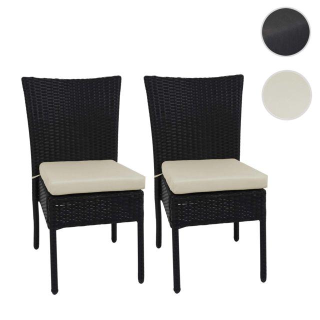Mendler 2x Fauteuil en polyrotin Hwc-g19, chaise pour jardin ou balcon, empilable ~ noir, coussin crème
