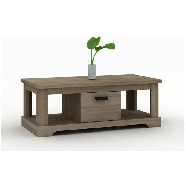 Nouvomeuble Table basse contemporaine couleur bois Lewis