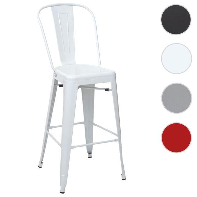 Mendler Tabouret de bar Hwc-a73, chaise de comptoir avec dossier, métal, design industriel ~ blanc
