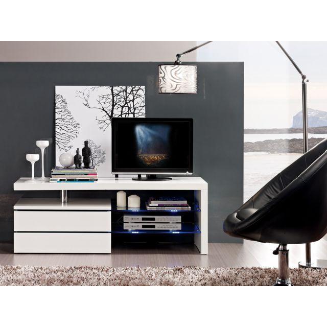HABITAT ET JARDIN Meuble TV Diana - 120x42x43,1 cm - MDF blanc