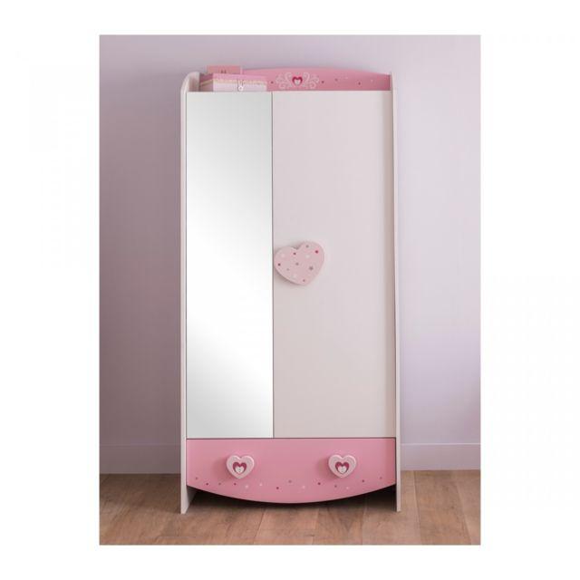 TERRE DE NUIT Armoire féerie rose et blanc perle AR125