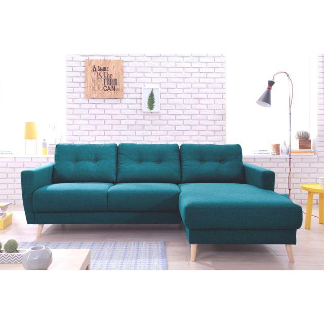 BOBOCHIC Canapé d'angle fixe SCANDI Turquoise Angle droit