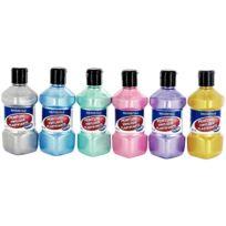 Majuscule - peinture vinylique plastifiante, couleurs nacrées assorties - lot de 6 flacons de 250ml