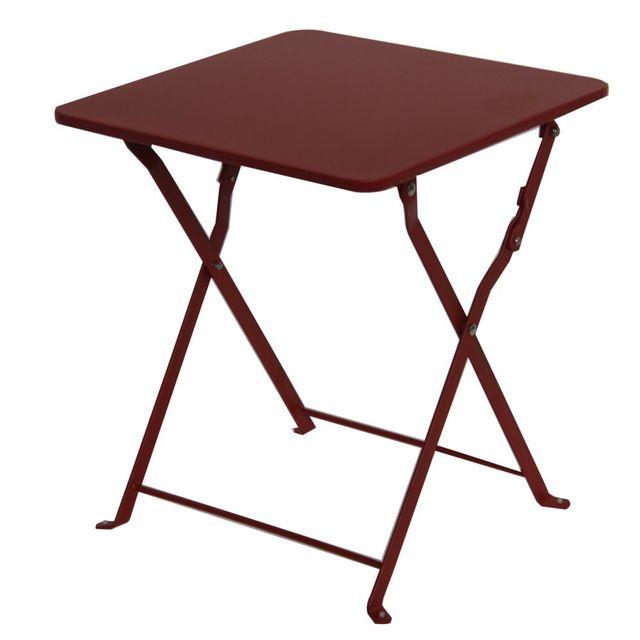 MARQUE GENERIQUE Table basse pliante Danemark l.40 x l.40 x H.45 cm piment